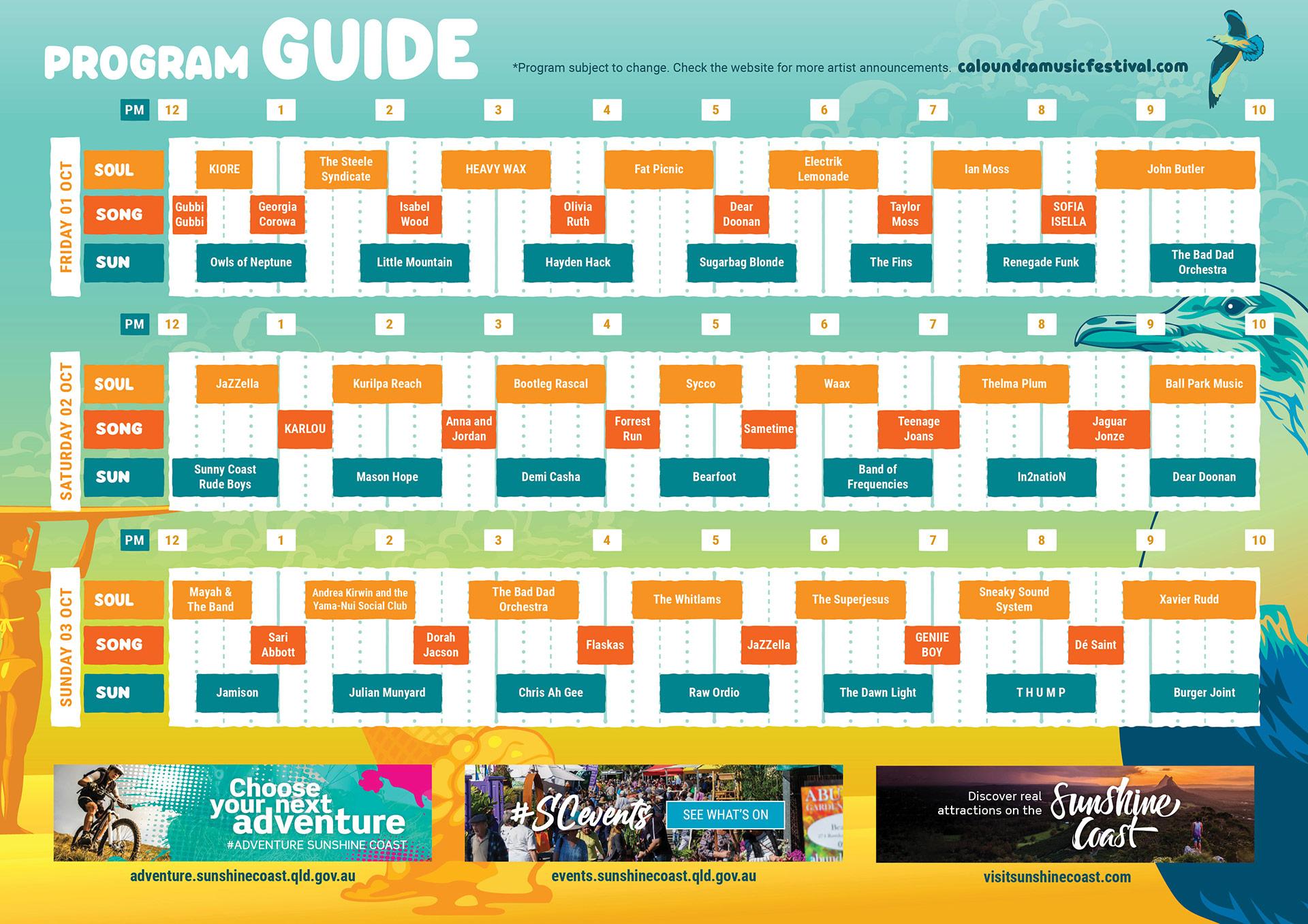 CMF Program Artist Playing Schedule